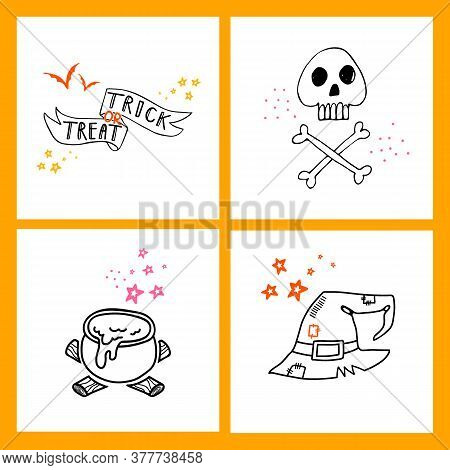 Halloween Doodle Collection Of Hand Drawn Icons. Spooky And Fun Doodle Elements For Halloween Decora