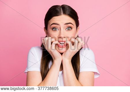 Close-up Portrait Of Her She Nice-looking Attractive Lovely Lovable Winsome Cute Worried Nervous Gir
