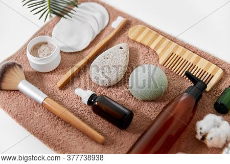 beauty, sustainability and eco living concept - natural cosmetics and bodycare eco products on white background