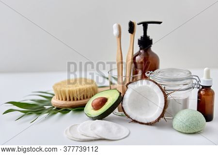 beauty, sustainability and eco living concept - natural cosmetics, bodycare and hygienic eco products on white background