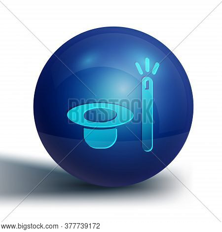 Blue Magic Hat And Wand Icon Isolated On White Background. Magic Trick. Mystery Entertainment Concep