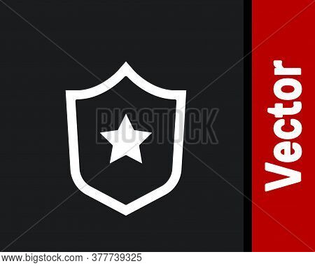 White Police Badge Icon Isolated On Black Background. Sheriff Badge Sign. Shield With Star Symbol. V