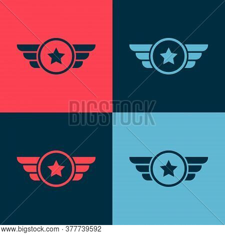 Pop Art Star American Military Icon Isolated On Color Background. Military Badges. Army Patches. Vec