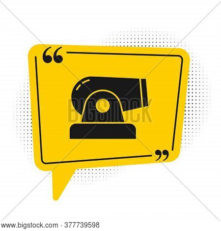 Black Cannon Icon Isolated On White Background. Yellow Speech Bubble Symbol. Vector