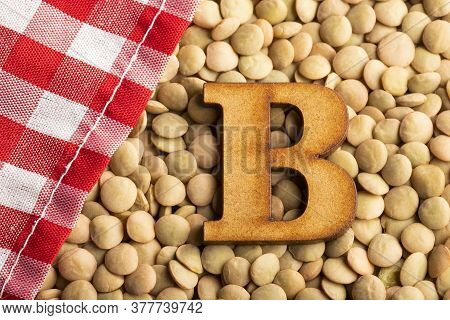 Letter B, Lentils With Checkered Napkin - Lens Culinaris