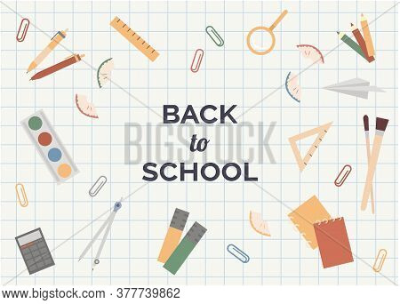 Back To School Poster, Banner Design Template. Colorful Back To School Template For Invitation, Post
