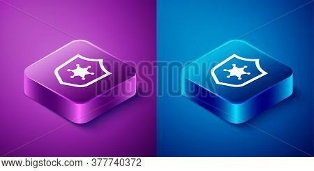 Isometric Police Badge Icon Isolated On Blue And Purple Background. Sheriff Badge Sign. Square Butto
