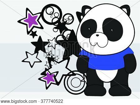 Kawaii Plush Panda Bear Cartoon Background In Vector Format