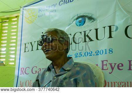 Kolkata, West Bengal, India - 25th February 2018 : Eye Sight Of Indian Male Patient Is Being Tested,