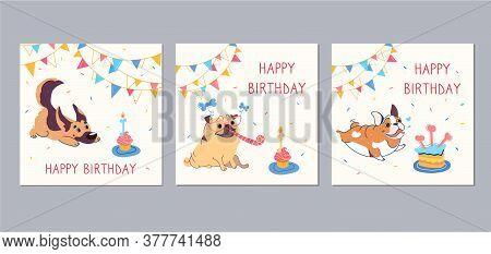 Happy Birthday Cards With Funny Cartoon Pug, English Bulldog, German Shepherd. Garlands, Festive Cup