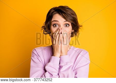 Portrait Of Astonished Worried Girl Impressed By Hear Horrible Terrible Friends News Cover Close Pal