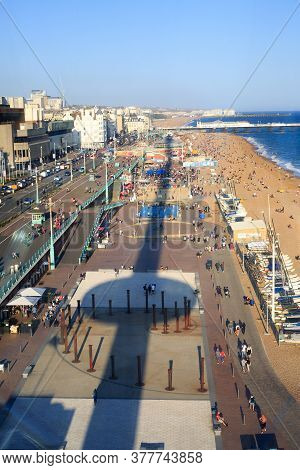 I360 Tower, Brighton, Uk, 2020.  View Looking Down Over Brighton With A Silhouette Shadow Of The Tow