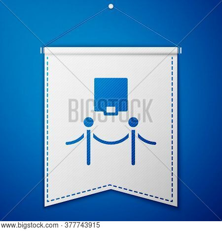 Blue Picture Frame And Rope Barrier Icon Isolated On Blue Background. Exhibit Protection. Museum Gal