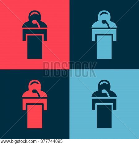Pop Art Gives Lecture Icon Isolated On Color Background. Stand Near Podium. Speak Into Microphone. T