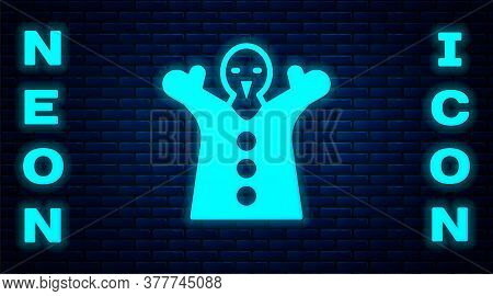 Glowing Neon Toy Puppet Doll On Hand Icon Isolated On Brick Wall Background. Vector