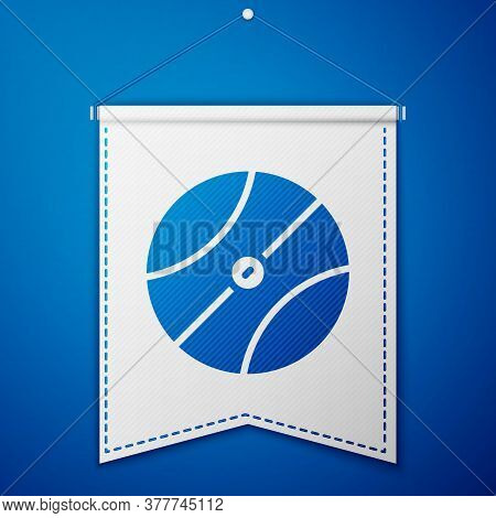 Blue Basketball Ball Icon Isolated On Blue Background. Sport Symbol. White Pennant Template. Vector