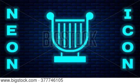 Glowing Neon Ancient Greek Lyre Icon Isolated On Brick Wall Background. Classical Music Instrument,