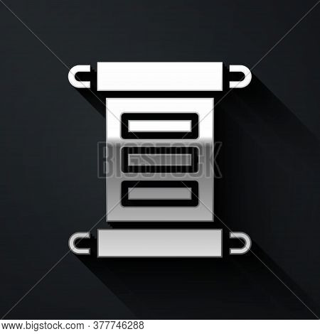 Silver Decree, Paper, Parchment, Scroll Icon Icon Isolated On Black Background. Long Shadow Style. V