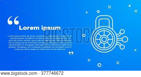 White Line Cyber Security Icon Isolated On Blue Background. Closed Padlock On Digital Circuit Board.