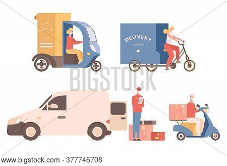 Express Non Contact Delivery Vector Flat Illustration. People In Medical Face Masks Deliver Goods Or