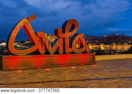Avila, Spain - June 25, 2019: Avila view from Los cuatro postes (The four post), at night. Castile and Leon, Spain