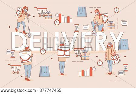 Delivery Word Vector Cartoon Outline Poster Design. People In Medical Masks Deliver Goods Or Food. N