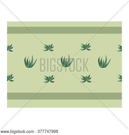 Seamless Border With Green Aloe Plants. Flower Of Aloe. Shrub With Aloe. Ribbon, Edging With Aloe. A