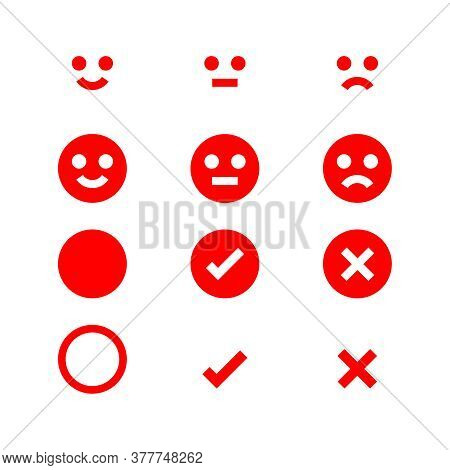 Emotions Face Red Icon, Emotional Symbol And Approval Check Sign Button, Red Emotions Faces And Chec