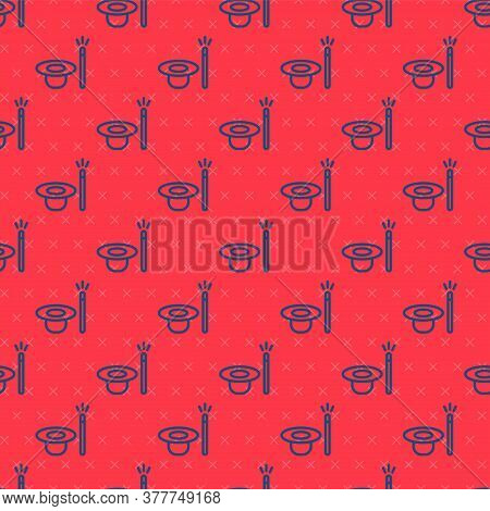 Blue Line Magic Hat And Wand Icon Isolated Seamless Pattern On Red Background. Magic Trick. Mystery