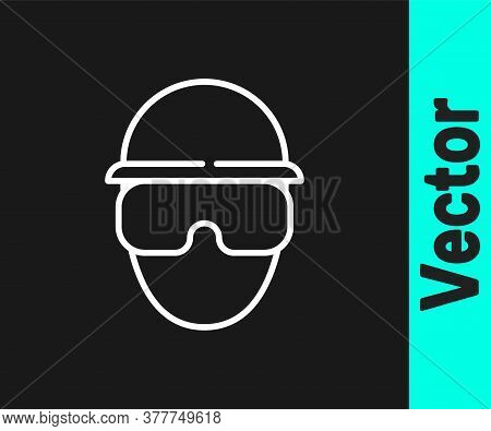 White Line Special Forces Soldier Icon Isolated On Black Background. Army And Police Symbol Of Defen