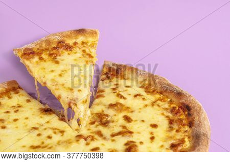 Close-up Of A Cheese Pizza Slice With Melted Mozzarella, Isolated On Purple Background. Delicious Pl