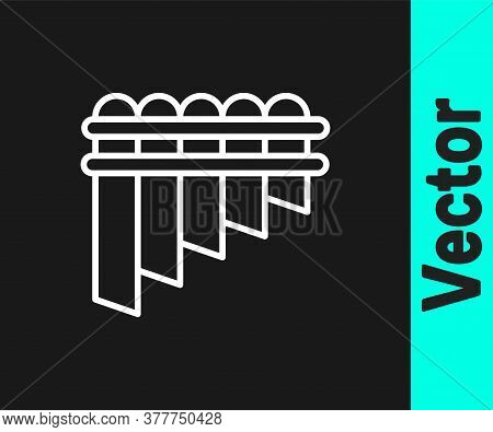 White Line Pan Flute Icon Isolated On Black Background. Traditional Peruvian Musical Instrument. Zam