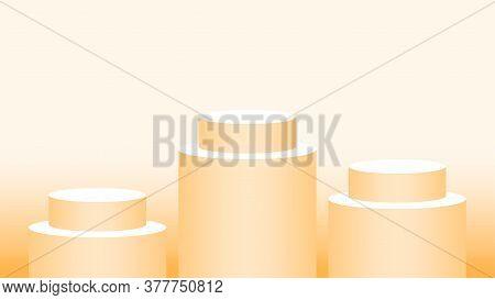 Orange Pedestal Cylinder Circle 3 Steps For Cosmetics Showcase, Podium Circle Stage Orange Soft Past