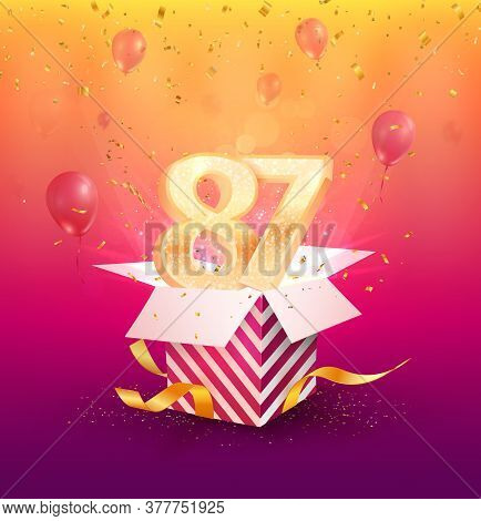 87th Years Anniversary Vector Design Element. Isolated Eighty-seven Years Jubilee With Gift Box, Bal