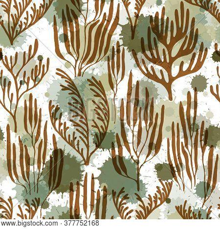 Coral Reef Seamless Pattern. Paint Splashes Drops Watercolor Background. Undersea Reef Flora Pattern