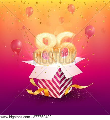 86th Years Anniversary Vector Design Element. Isolated Eighty-six Years Jubilee With Gift Box, Ballo