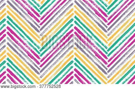 Grunge Chevron Fashion Print Vector Seamless Pattern. Paint Brush Stroke Geometric Stripes. Hand Dra