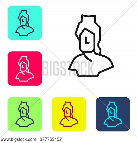 Black Line Ancient Bust Sculpture Icon Isolated On White Background. Set Icons In Color Square Butto