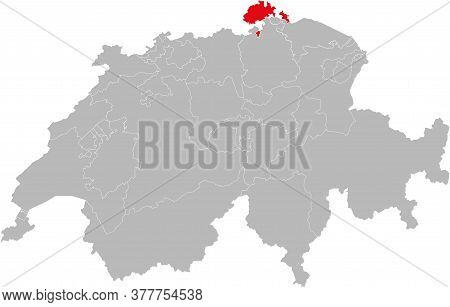 Schaffhausen Canton Isolated On Switzerland Map. Gray Background. Backgrounds And Wallpapers.