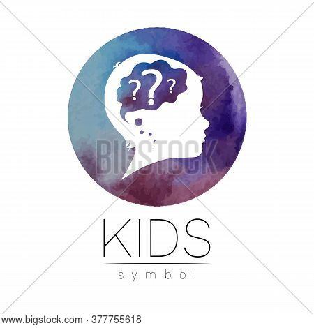 Child Logotype With Brain And Question In Violet Watercolor Brush Circle Vector. Silhouette Profile