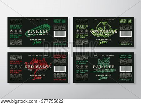 Handcrafted Sauce Labels Template Set. Abstract Vector Packaging Design Layouts. Modern Typography G
