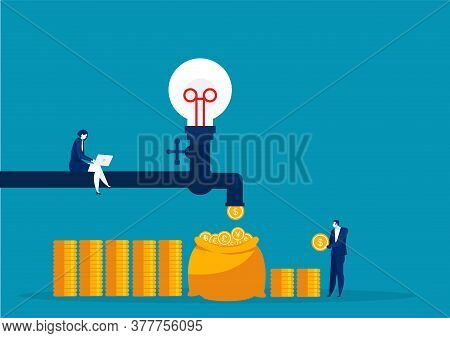 Business Woman Made Money Falling Out Of The Water Tap Passive Income Concept .
