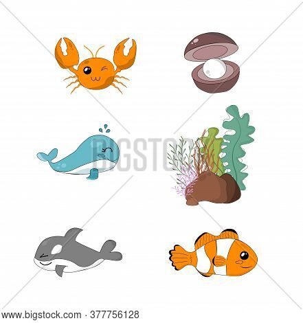 Set Sea Creatures In Deep Sea. For Poster, Design, Teaching Media. World Ocean Day And Save Ocean. P