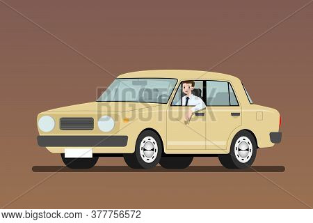 Sad Businessman Driving An Old Car To Work But It's Easy And Fast Than Walk. Business People Drive A