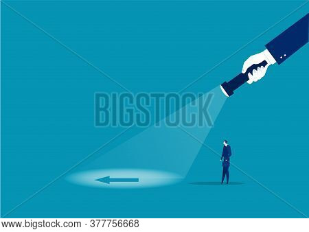 Businessman Looking Direct Flash With Big Hand Holds A Flashlight To Vision Direction. Search Direct