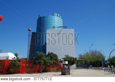 SEVILLE, SPAIN - APRIL 3, 2019: The studios of RTVA (Radio and Television of Andalucia). Owned by the Regional Government of Andalucia, the broadcaster launched in 1988.