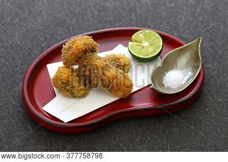 deep fried matsutake mushroom, japanese cuisine