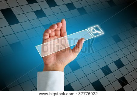 Hand Clicking Internet Search Page
