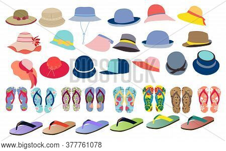 Vector Set With Cute And Colorful Summer Accessories Hats, Flip Flops For Beach Holiday Design. Coll