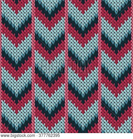 Closeup Downward Arrow Lines Knitting Texture Geometric Seamless Pattern. Pullover Knit Tricot  Fabr